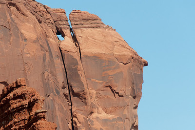 Close-up of stone formations in Monument Valley, Utah