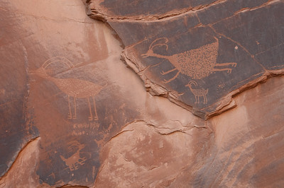 Writings on stone walls in Monument Valley, Utah