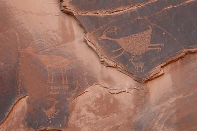 Writings on stone walls in Monument Valley, Utah