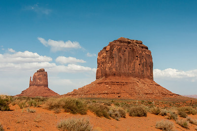 West Mitten Butte and Merrick Butte in Monument Valley, Utah