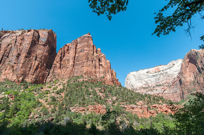 Zion Canyon from the canyon floor in Zion National Park, Utah