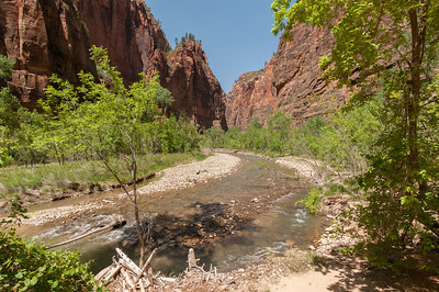 Shallow river in Zion National Park, Utah