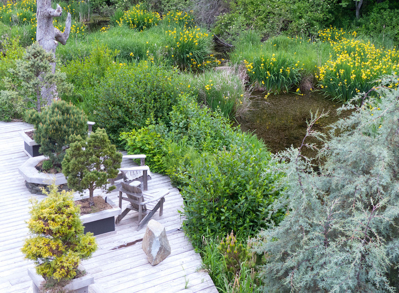 A peaceful sitting area in the garden at Inn the Estuary on Vancouver Island.