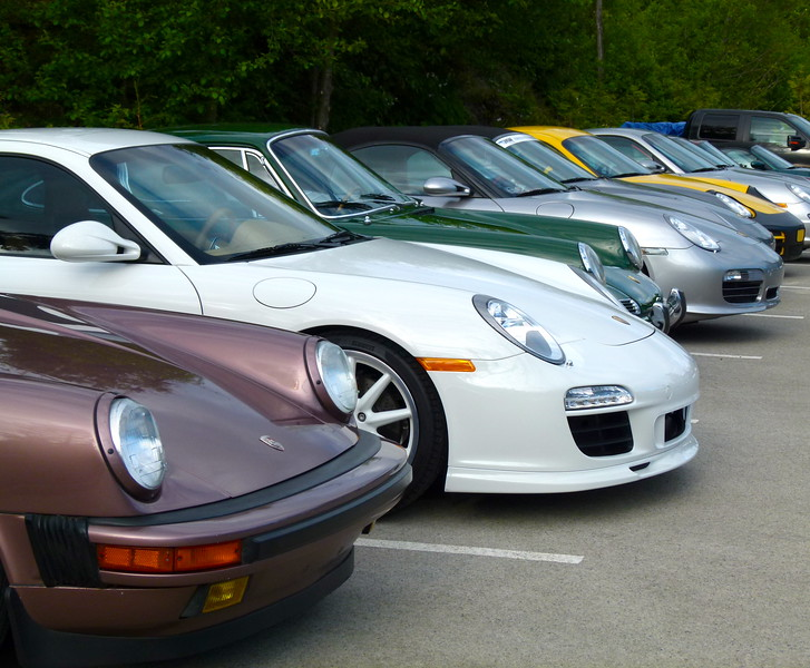 Porsches lined up for the show and shine in Ucluelet, B.C.