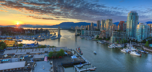 Sunset over Granville Island, Vancouver