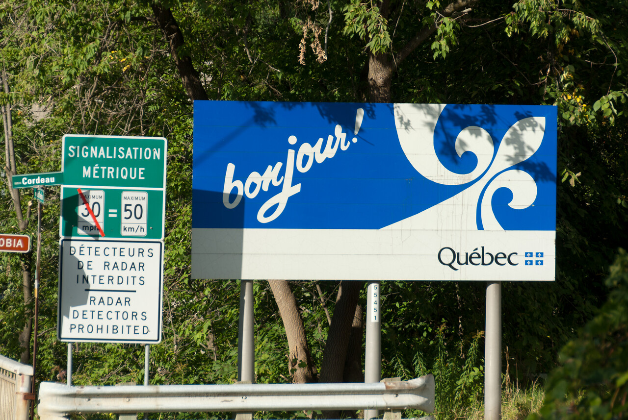 Welcome sign to Quebec Canada near Derby Line, Vermont