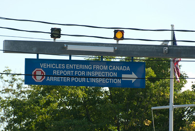 Warning for inspection at US-Canada border in Derby Line, Vermont