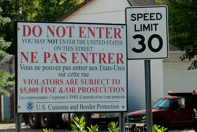 US Customers and Border protection sign at the US-Canada border in Derby Line, Vermont