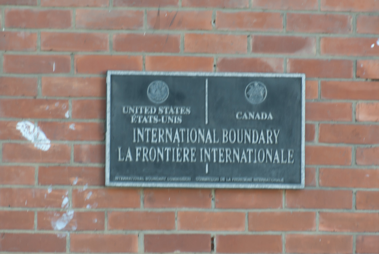 International boundary plaque at Derby Line, Vermont
