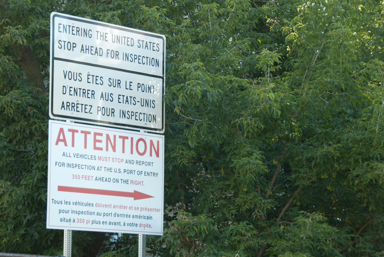 Border inspection sign at US-Canada border in Derby Line, Vermont