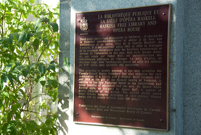 Commemorative plaque at Haskell Free Library and Opera House near US-Canada border, Vermont