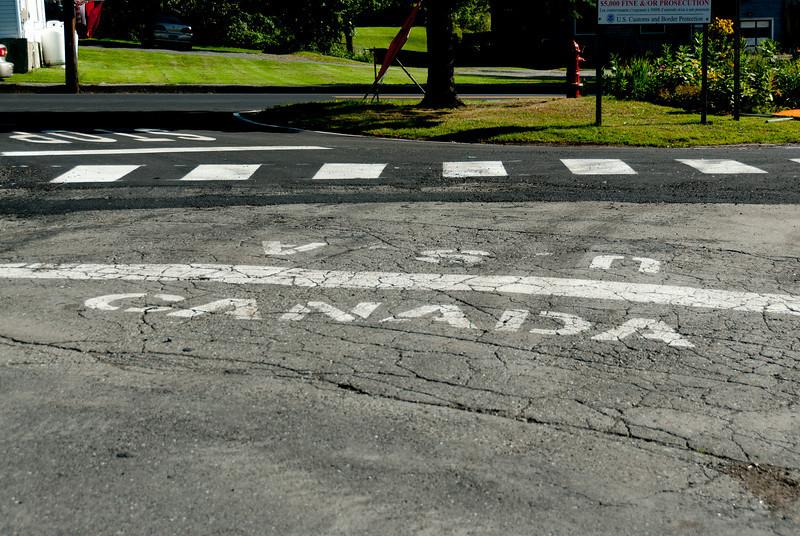 USA-Canada border in Derby Line, Vermont