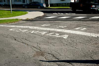 US-Canada Border line in Derby Line, Vermont