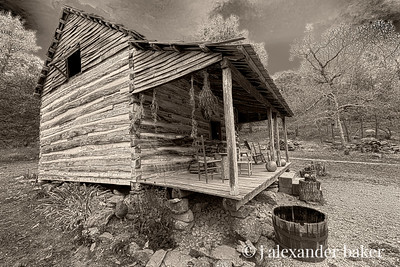 Pioneer Cabin, Humpback Rocks, Blue Ridge Parkway, Virginia B&W HDR