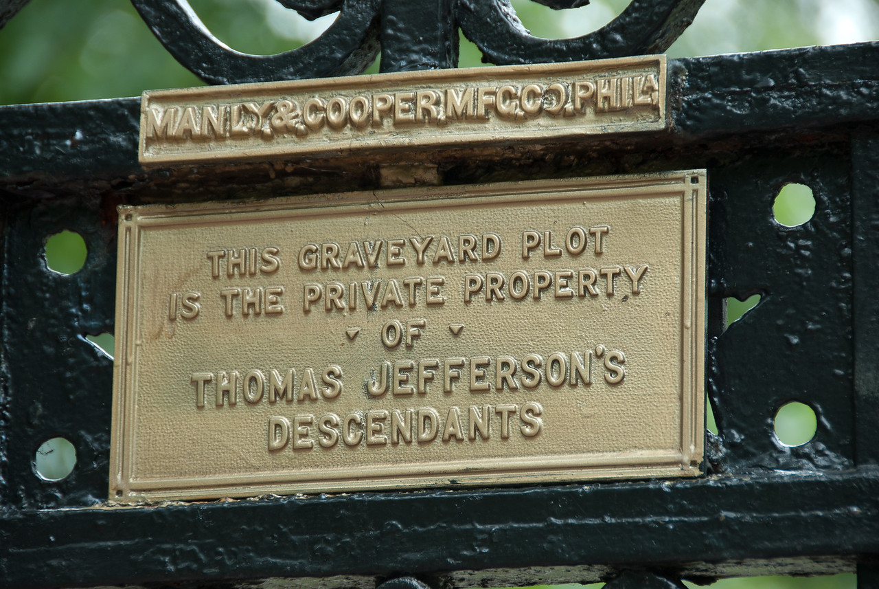 Sign at the graveyard in Monticello, Charlottesville, Virginia