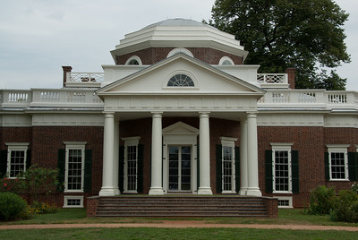 Facade of Monticello in Charlottesville, Virginia