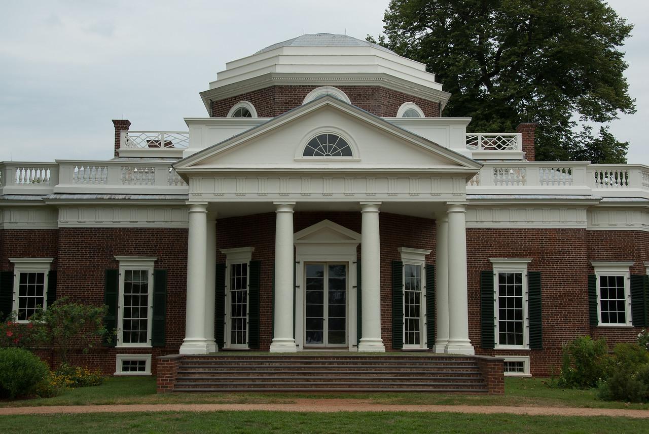 Facade of Monticello in Charlottesville, Virginia