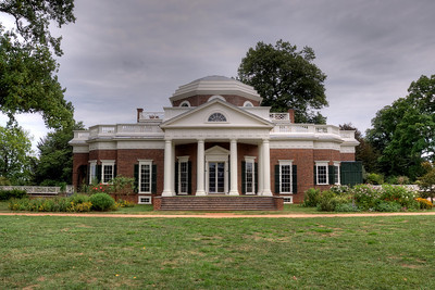 The Monticello facade in Charlottesville, Virginia