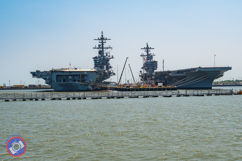 Nuclear Aircraft Carriers being Serviced at Naval Station, Norfolk, as Seen from the Miss Hampton II (©simon@myeclecticimages.com)