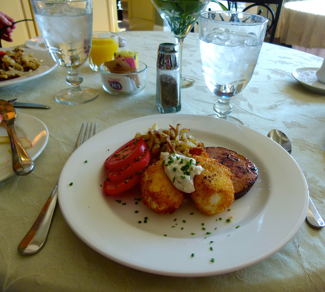 Panko crusted eggs benedict for breakfast at Cameo Heights Mansion Bed and Breakfast