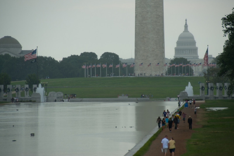 The Washington Monument with US Capitol visible from behind