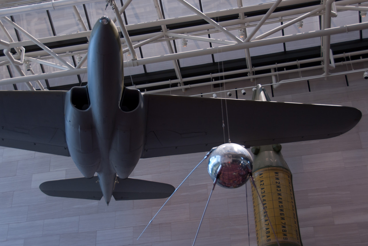 Model aircraft hanging from the ceiling at National Museum of United States Air Force