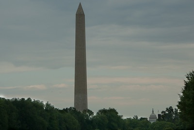 Washington Monument towering above National Mall in Washington DC
