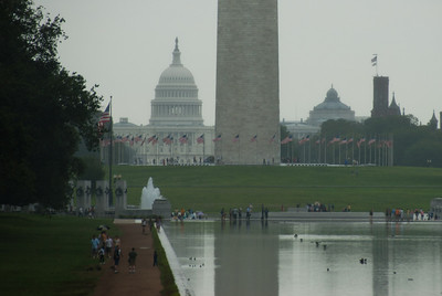 US Capitol Building behind the Washington Monument in Washington DC