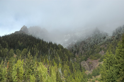Mist covering Bailey Range in Olympic National Park, Washington