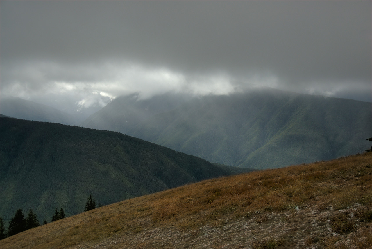 Heavy clouds over Bailey Range in Olympic National Park, Washington