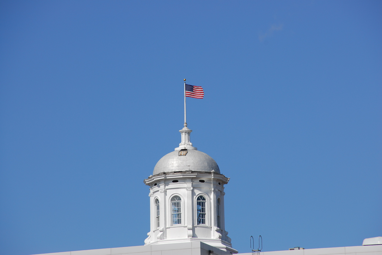 US flag over Capitol Building in Appleton, Wisconsin