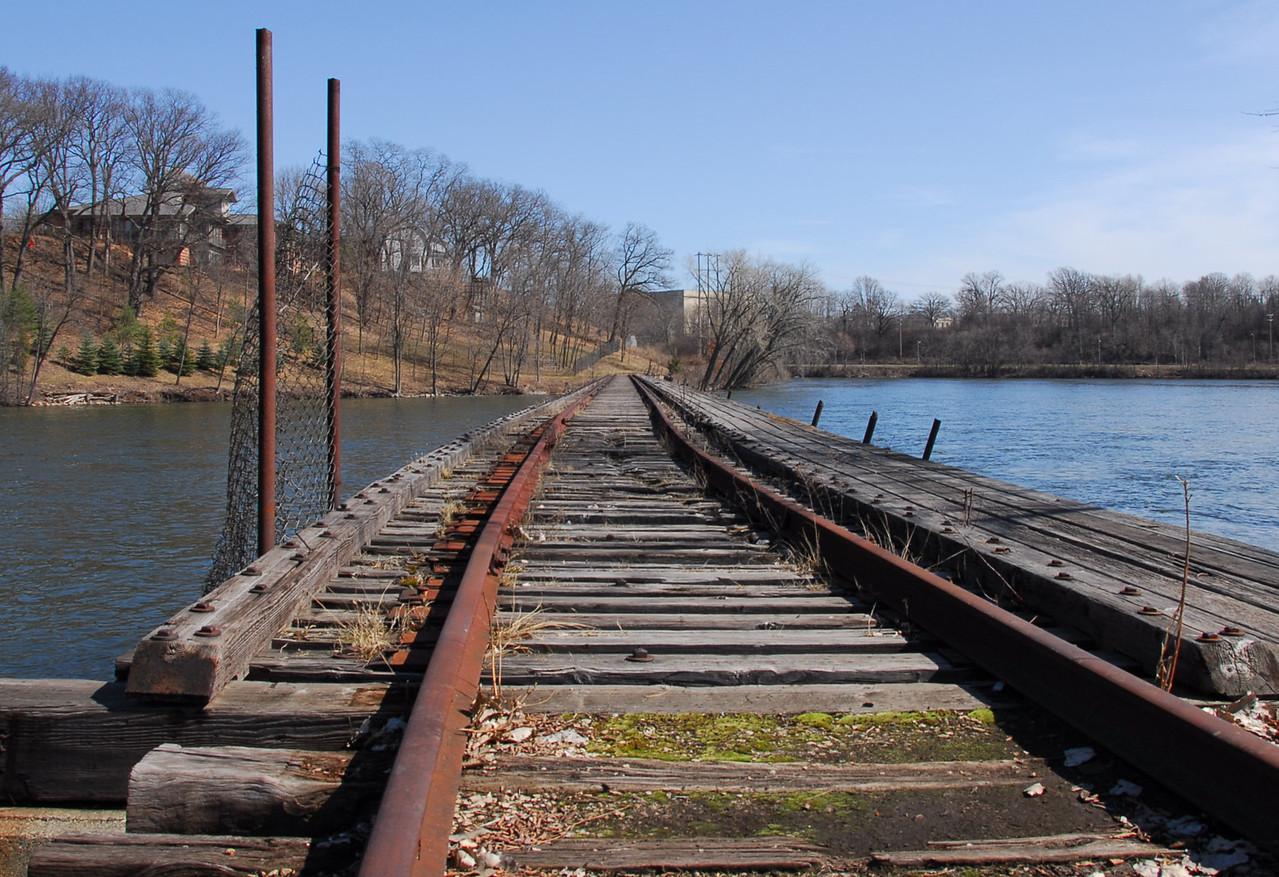 Wooden bridge crossing the Fox River in Appleton, Wisconsin