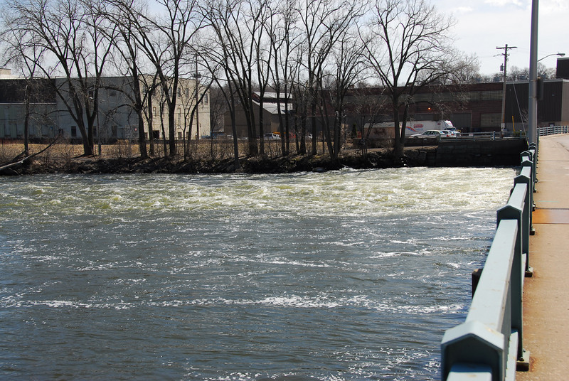 Fox River as seen from the bridge in Appleton, Wisconsin