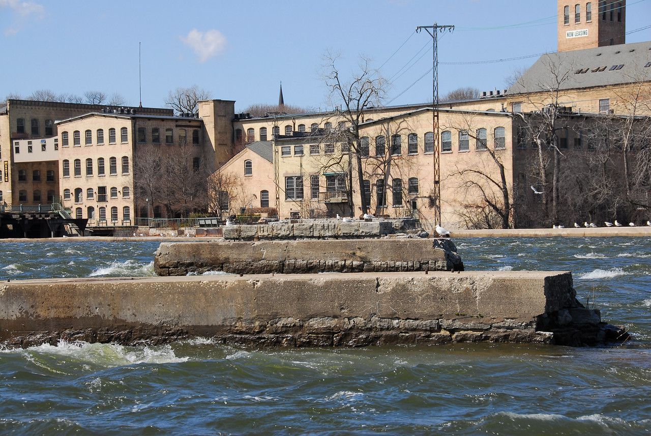 Concrete barrier in Fox River, Appleton, Wisconsin