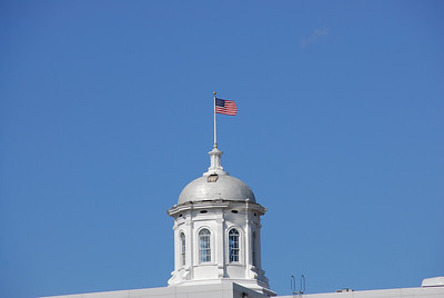 Capitol building with flag in Appleton, Wisconsin