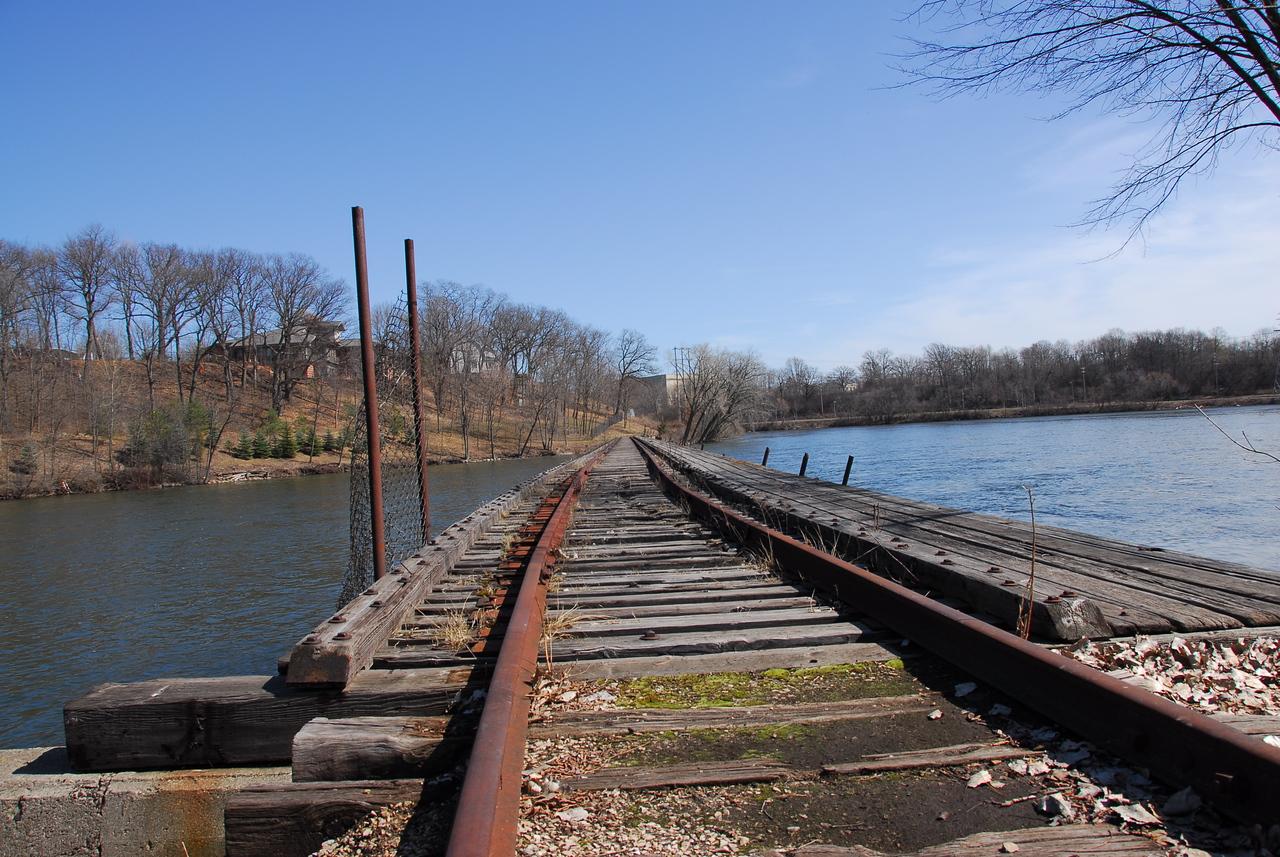 Wooden bridge crossing Fox River in Appleton, Wisconsin