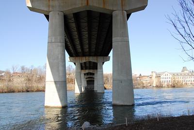 Concrete posts under Wisconsin Route 47 Bridge in Appleton