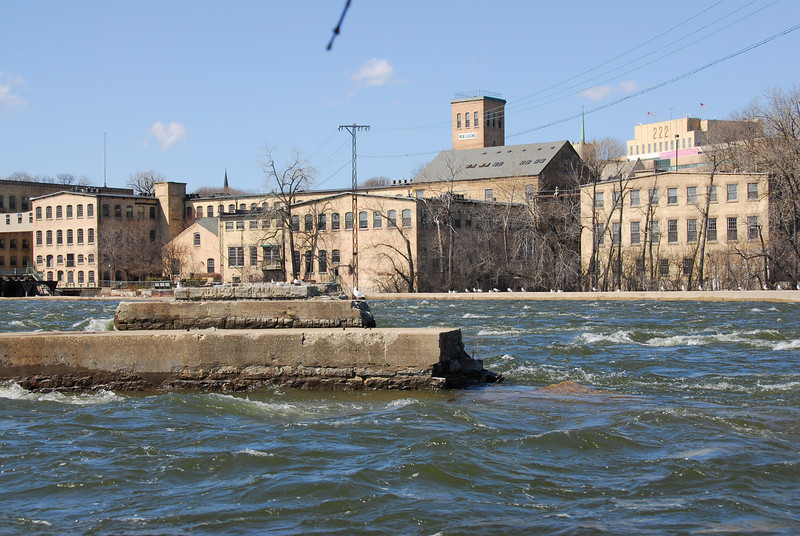 Strong current in Fox River, Appleton, Wisconsin