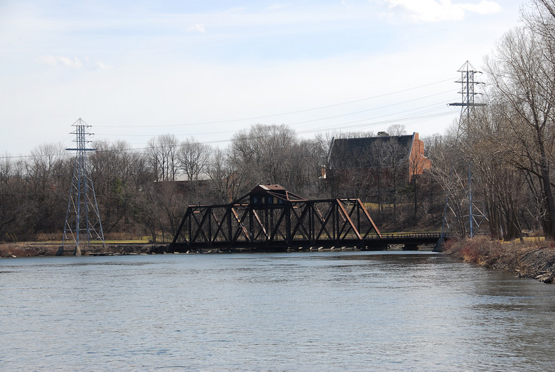 View of the bridge from the banks of Fox River in Appleton