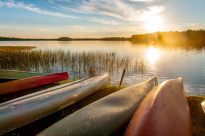 Canoe at the bank of Namekagon River in Cable, Wisconsin
