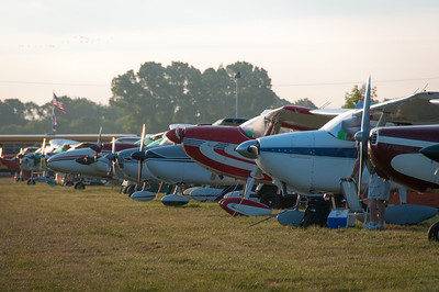 Aircrafts in line at the EAA Show 2012 in Wisconsin