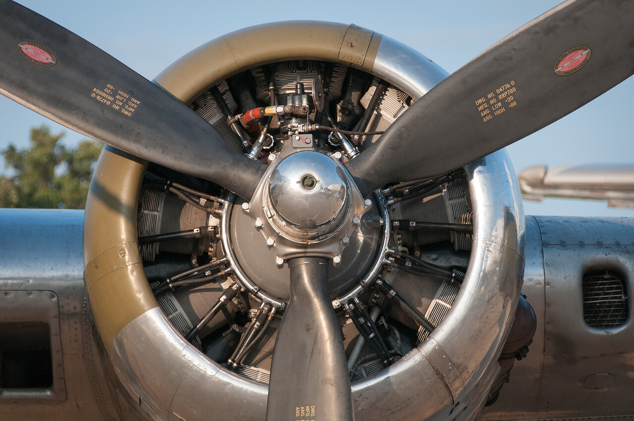 Propeller of B-17 Flying Fortress Yankee Lady warbird on display at the EAA Show 2012 in Wisconsin