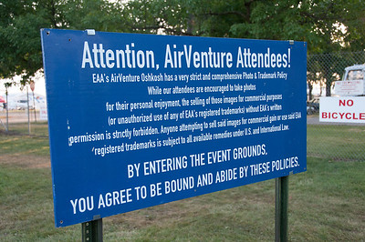 Warning sign at EAA Show in Wisconsin