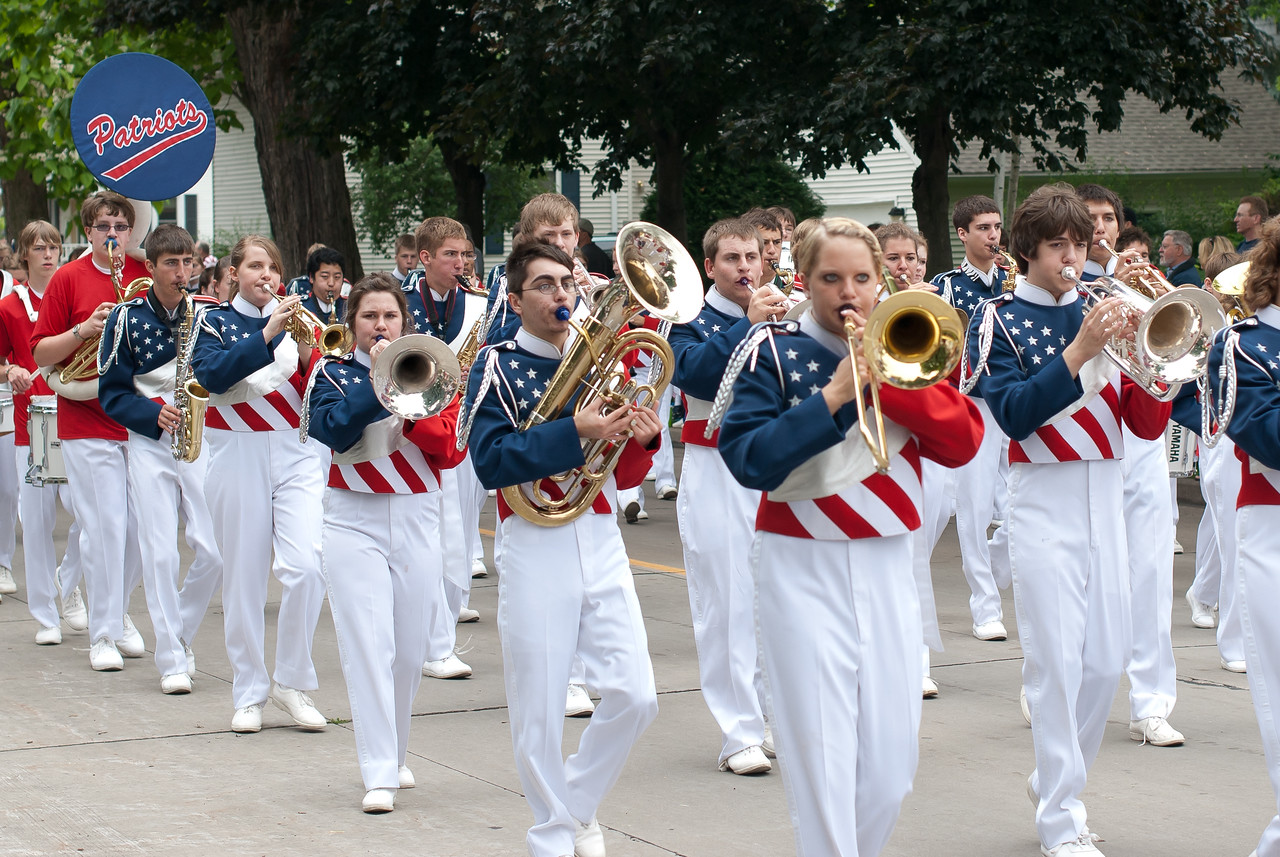 Marching band at the Appleton Flag Day Parade, Wisconsin