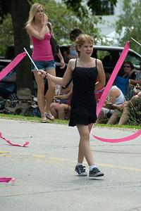 Little girl in parade in Stephensville, Wisconsin