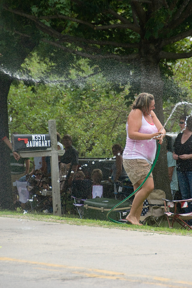 Water hose from fire truck shooting at onlooker - Stephensville, Wisconsin