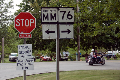 Parade route sign at Stephensville Parade, Wisconsin