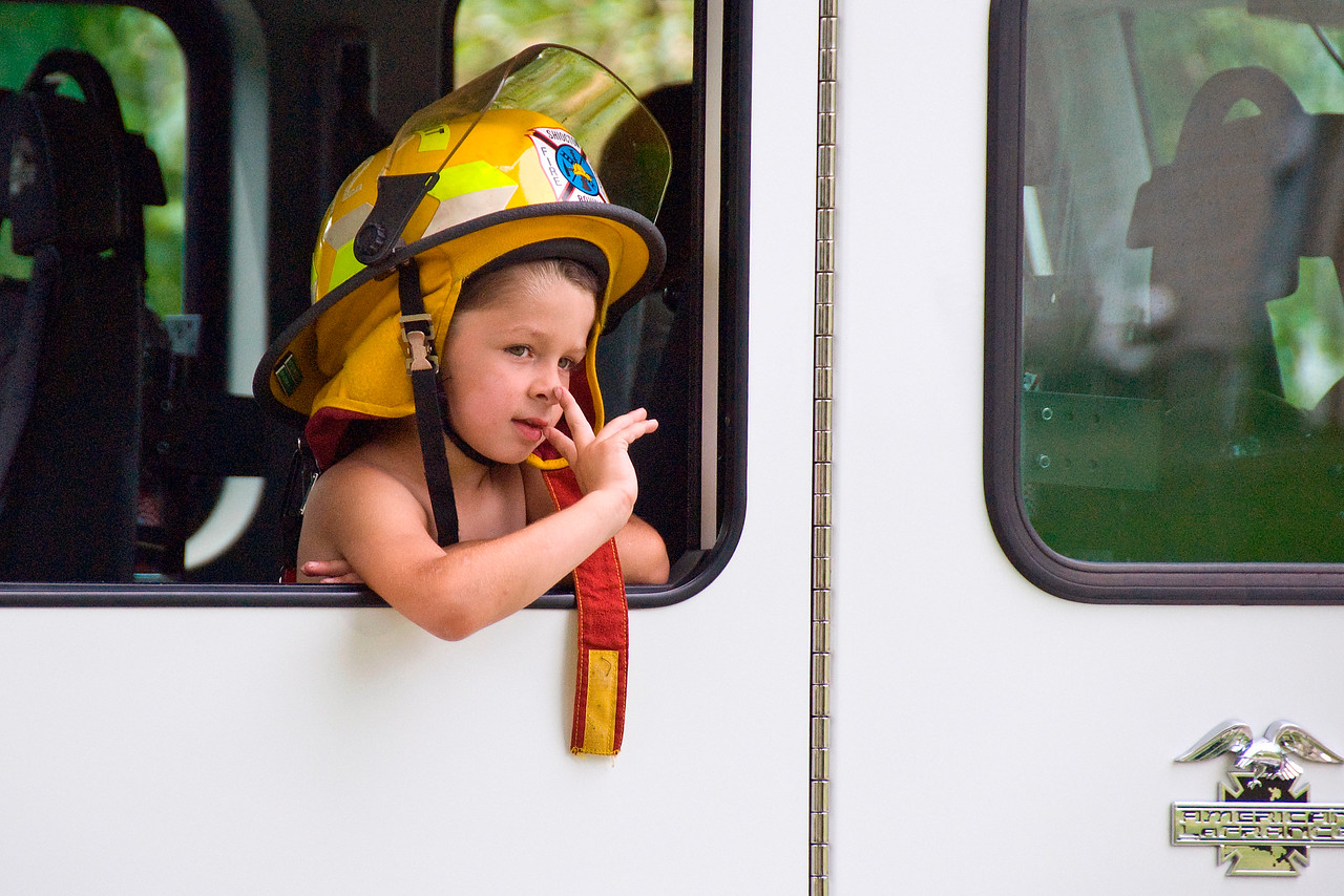 Boy in Firetruck, Stephensville Parade, Wisconsin
