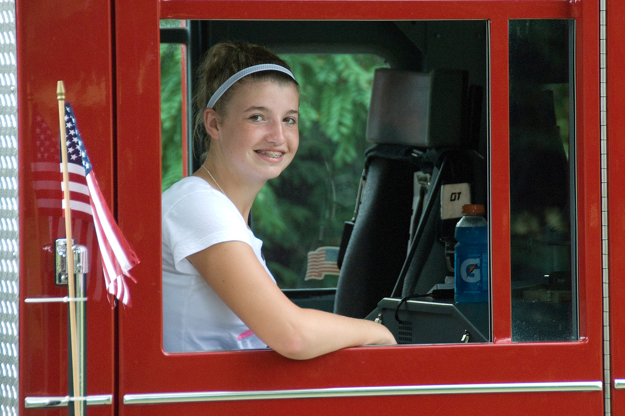 Girl in a firetruck during Stephensville Parade, Wisconsin