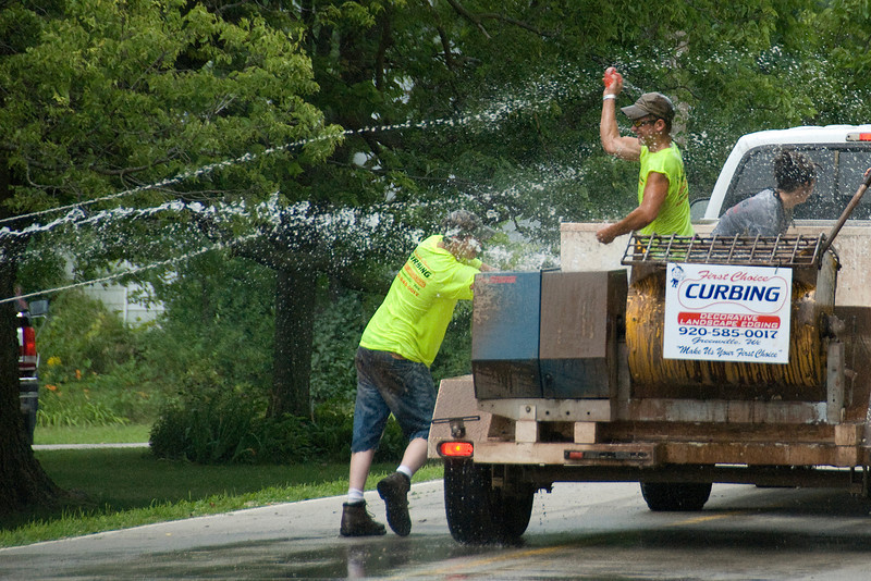 Water tossing during parade in Stephensville, Wisconsin